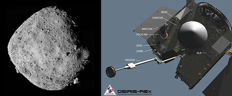 Asteroid Bennu and OSIRIS-REx satellite