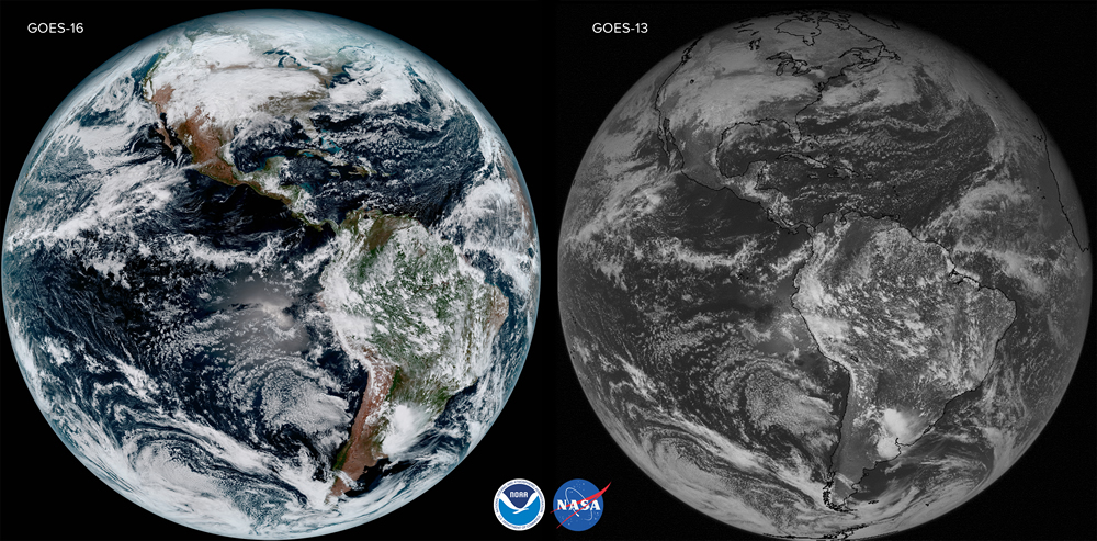 GOES-16 and GOES-13 comparison from the same day Jan 15, 2017