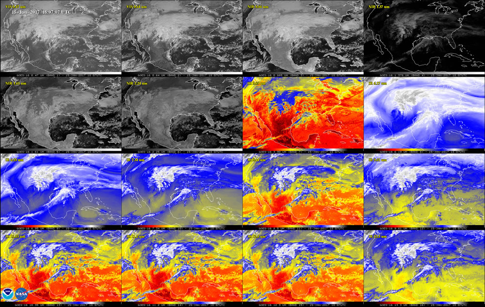 This 16-panel image shows the continental United States in the two visible, four near-infrared and 10 infrared channels on ABI. These channels help forecasters distinguish between differences in the atmosphere like clouds, water vapor, smoke, ice and volcanic ash. GOES-16 has three-times more spectral channels than earlier generations of GOES satellites.