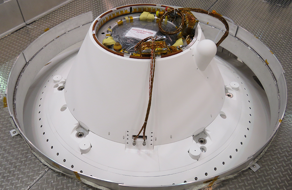 The parachute cone contains antennas and a parachute that is attached to the Perseverance rover to aid in its Mars descent. Courtesy NASA/JPL-Caltech.